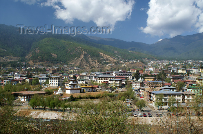 bhutan170: Bhutan - Thimphu - view along the Wang Chhu river  - photo by A.Ferrari - (c) Travel-Images.com - Stock Photography agency - Image Bank