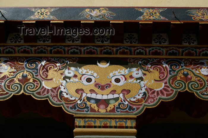 bhutan173: Bhutan - Thimphu - Painting on support column - city center - photo by A.Ferrari - (c) Travel-Images.com - Stock Photography agency - Image Bank