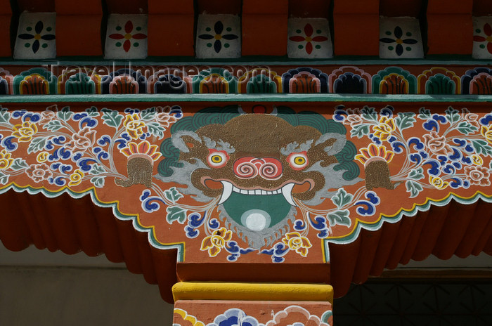 bhutan174: Bhutan - Thimphu - demon - painting on support column - city center - photo by A.Ferrari - (c) Travel-Images.com - Stock Photography agency - Image Bank