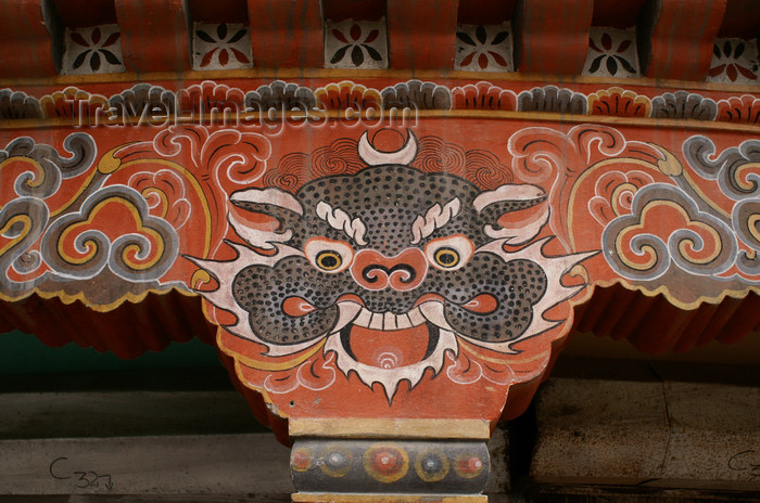 bhutan176: Bhutan - Thimphu - spoted demon - painting on support column - city center - photo by A.Ferrari - (c) Travel-Images.com - Stock Photography agency - Image Bank