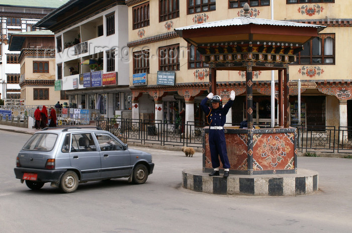 bhutan177: Bhutan - Thimphu - the only capital without traffic lights - traffic police at work - photo by A.Ferrari - (c) Travel-Images.com - Stock Photography agency - Image Bank