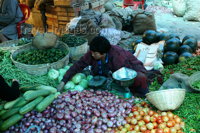 bhutan179: Bhutan - Thimphu - the market - selling vegetables - tomatoes, onions, cabages... - photo by A.Ferrari - (c) Travel-Images.com - Stock Photography agency - Image Bank