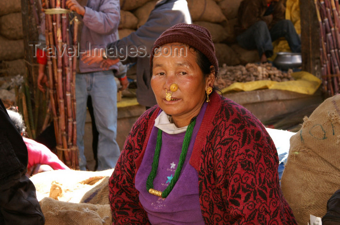 bhutan185: Bhutan - Thimphu - the market - Bhutanese woman with nose piercings - photo by A.Ferrari - (c) Travel-Images.com - Stock Photography agency - Image Bank