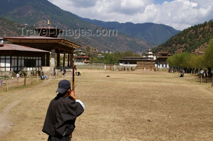 bhutan190: Bhutan - Thimphu  - aiming - archer at Changlimithang stadium - photo by A.Ferrari - (c) Travel-Images.com - Stock Photography agency - Image Bank