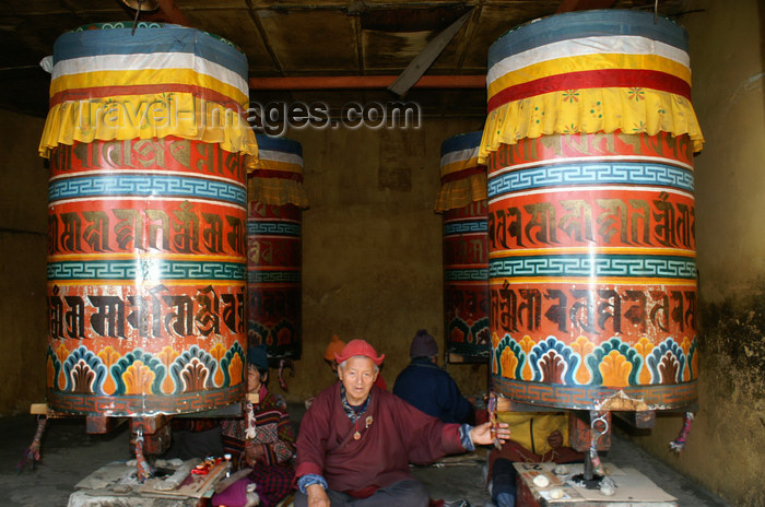 bhutan193: Bhutan - Thimphu - large prayer wheels in the National Memorial Chorten - photo by A.Ferrari - (c) Travel-Images.com - Stock Photography agency - Image Bank