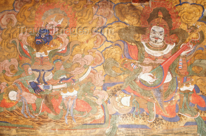 bhutan21: Bhutan - Jampa Lhakhang - two kings - old painting of the guardians of the four directions - photo by A.Ferrari - (c) Travel-Images.com - Stock Photography agency - Image Bank