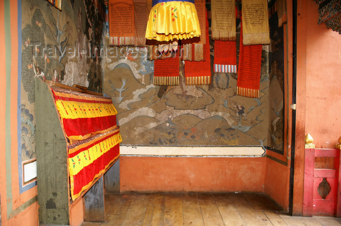 bhutan216: Bhutan - colourful prayer flags and old paintings, inside Tango Goemba - photo by A.Ferrari - (c) Travel-Images.com - Stock Photography agency - Image Bank