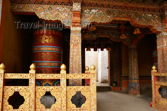bhutan218: Bhutan - Wood carvings and prayer wheel, inside Tango Goemba - photo by A.Ferrari - (c) Travel-Images.com - Stock Photography agency - Image Bank