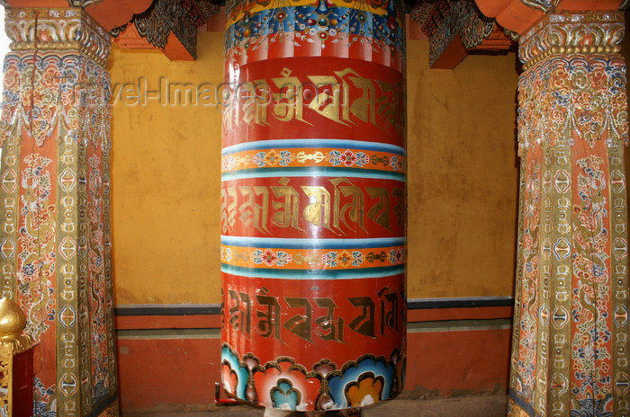 bhutan219: Bhutan - large prayer wheel, inside Tango Goemba - photo by A.Ferrari - (c) Travel-Images.com - Stock Photography agency - Image Bank