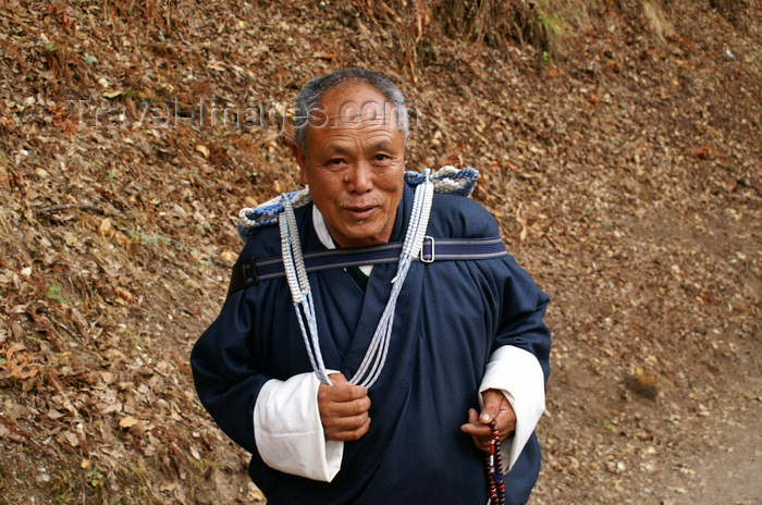 bhutan227: Bhutan - Bhutanese man, on his way to Cheri Goemba - photo by A.Ferrari - (c) Travel-Images.com - Stock Photography agency - Image Bank