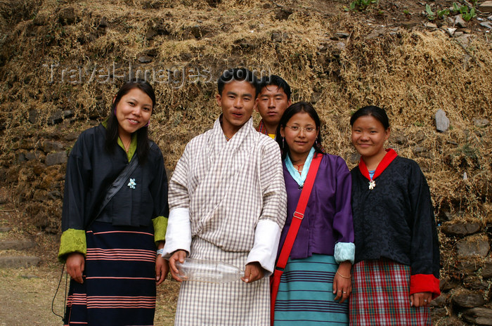 bhutan229: Bhutan - smiling group of Bhutanese people, on their way to Cheri Goemba - photo by A.Ferrari - (c) Travel-Images.com - Stock Photography agency - Image Bank
