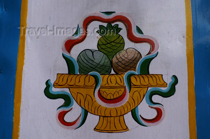bhutan237: Bhutan - fruit - Buddhist symbol, on the gate of Cheri Goemba - photo by A.Ferrari - (c) Travel-Images.com - Stock Photography agency - Image Bank