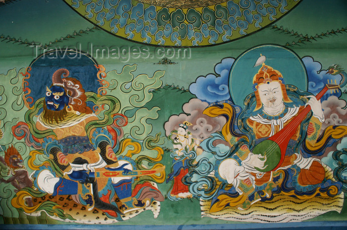 bhutan25: Bhutan - Phagchepo and Yulkhorsung - warrior and musician - two guardians of the four directions, in the Punakha Dzong - photo by A.Ferrari - (c) Travel-Images.com - Stock Photography agency - Image Bank