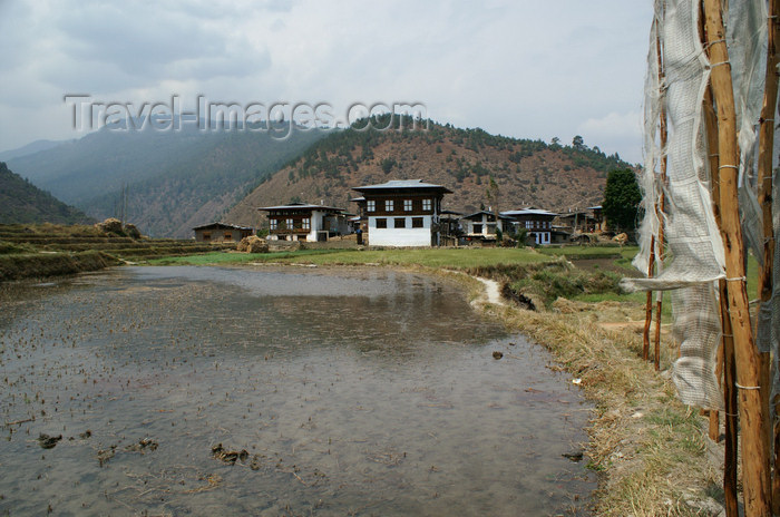 bhutan256: Bhutan - rice fields and Bhutanese houses, on the way to Chimi Lhakhang - photo by A.Ferrari - (c) Travel-Images.com - Stock Photography agency - Image Bank