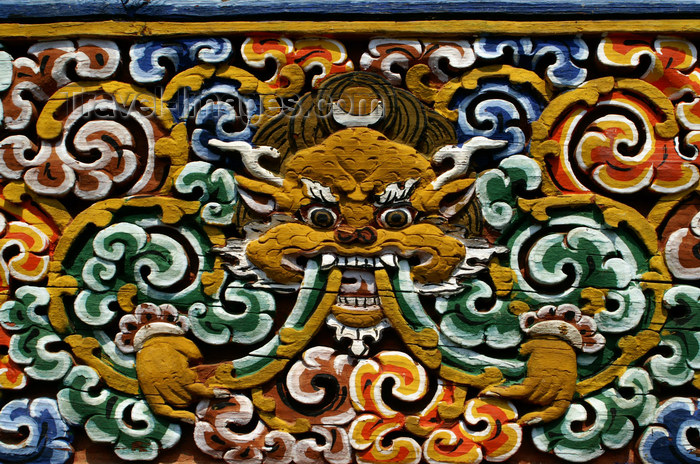 bhutan261: Bhutan - Wood carvings, in Chimi Lhakhang monastery - photo by A.Ferrari - (c) Travel-Images.com - Stock Photography agency - Image Bank