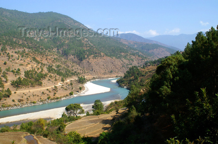 bhutan262: Bhutan - Punakha valley - river - photo by A.Ferrari - (c) Travel-Images.com - Stock Photography agency - Image Bank