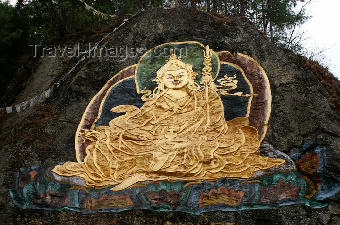 bhutan27: Bhutan - Guru Rinpoche, painted on a large rock outside Thimphu - Padmasambhava - brought Tantric Buddhism to Tibet in the 8th century - photo by A.Ferrari - (c) Travel-Images.com - Stock Photography agency - Image Bank