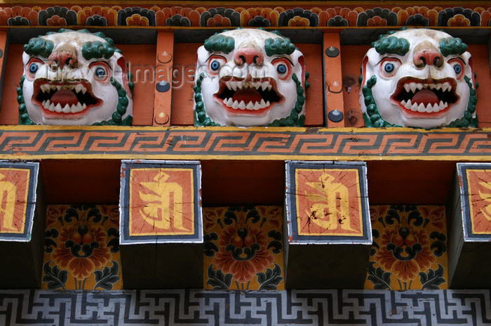 bhutan274: Bhutan - Scary faces carved in wood, in the Punakha Dzong - photo by A.Ferrari - (c) Travel-Images.com - Stock Photography agency - Image Bank
