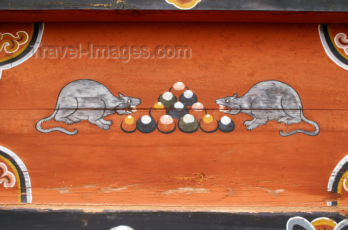 bhutan305: Bhutan - rats eating cakes - painting at the Dewachen Hotel in Tabiting, Phobjikha valley - photo by A.Ferrari - (c) Travel-Images.com - Stock Photography agency - Image Bank