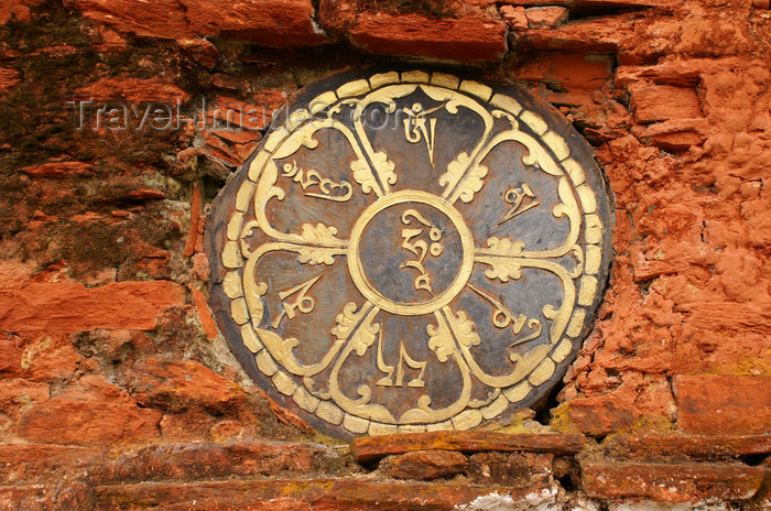 bhutan311: Bhutan - Buddhist mandala in the main wall of the Chendebji Chorten - photo by A.Ferrari - (c) Travel-Images.com - Stock Photography agency - Image Bank