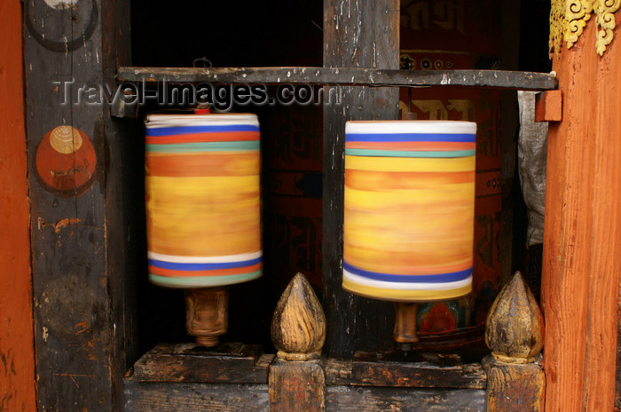 bhutan328: Bhutan - Jampa Lhakhang - two prayer wheels, bothspinning - photo by A.Ferrari - (c) Travel-Images.com - Stock Photography agency - Image Bank