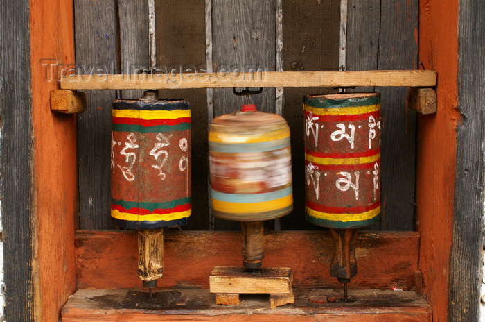 bhutan330: Bhutan - Jampa Lhakhang - three prayer wheels - photo by A.Ferrari - (c) Travel-Images.com - Stock Photography agency - Image Bank
