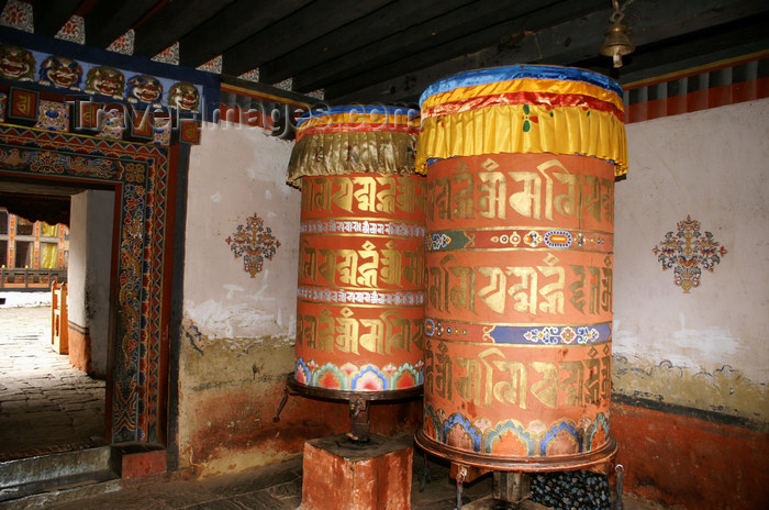 bhutan332: Bhutan - Jampa Lhakhang - large prayer wheels - photo by A.Ferrari - (c) Travel-Images.com - Stock Photography agency - Image Bank