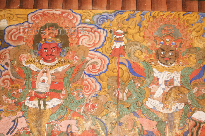 bhutan333: Bhutan - Jampa Lhakhang - old painting of the guardians of the four directions - photo by A.Ferrari - (c) Travel-Images.com - Stock Photography agency - Image Bank