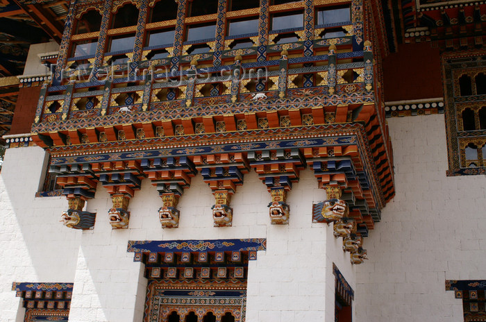 bhutan335: Bhutan - Zangto Pelri Lhakhang - balcony - wood carvings - photo by A.Ferrari - (c) Travel-Images.com - Stock Photography agency - Image Bank