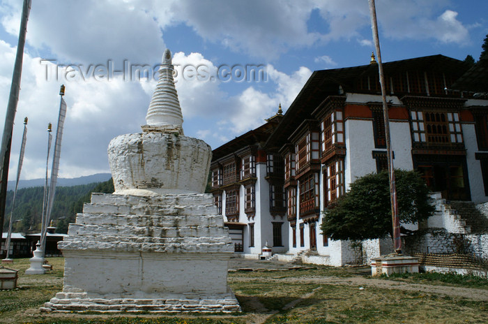bhutan338: Bhutan - Kurjey Lhakhang, Bumthang valley - stupa - photo by A.Ferrari - (c) Travel-Images.com - Stock Photography agency - Image Bank
