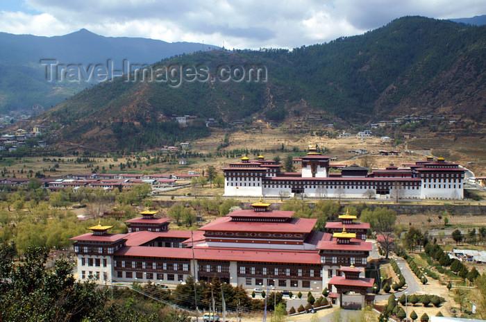 bhutan34: Bhutan - Thimphu - SAARC building, facing Trashi Chhoe Dzong - photo by A.Ferrari - (c) Travel-Images.com - Stock Photography agency - Image Bank