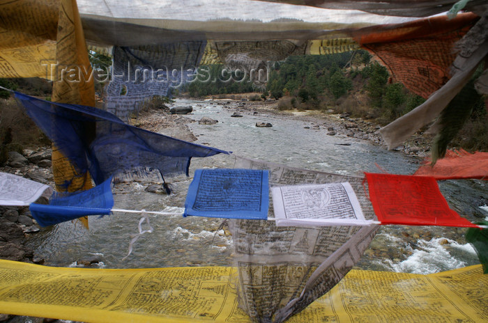 bhutan343: Bhutan - Bumthang valley - Prayer flags on a suspension bridge, over the Bhumthang Chhu river - photo by A.Ferrari - (c) Travel-Images.com - Stock Photography agency - Image Bank