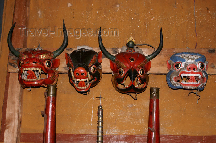 bhutan345: Bhutan - animal heads - Bhutanese festival masks, in the Ugyen Chholing palace - photo by A.Ferrari - (c) Travel-Images.com - Stock Photography agency - Image Bank