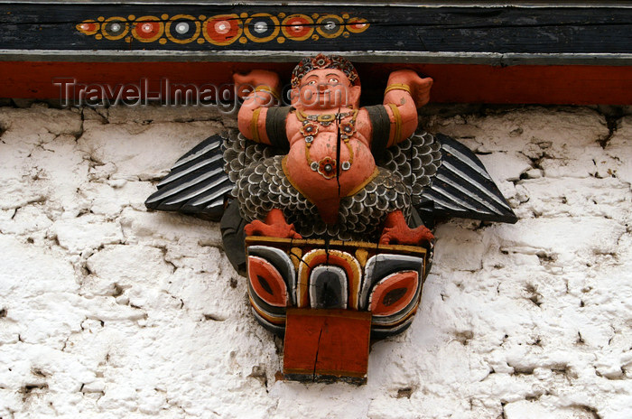 bhutan35: Bhutan - Thimphu - inside Trashi Chhoe Dzong - beautiful wood carving - winged figure - photo by A.Ferrari - (c) Travel-Images.com - Stock Photography agency - Image Bank