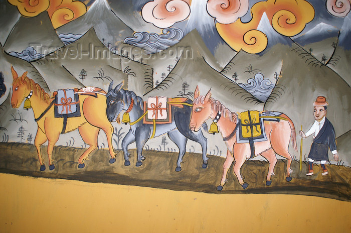 bhutan352: Bhutan - horses - painting, in the Ugyen Chholing palace - photo by A.Ferrari - (c) Travel-Images.com - Stock Photography agency - Image Bank