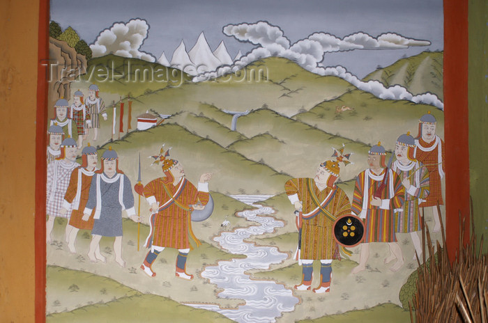 bhutan353: Bhutan - kings negotiate - painting, in the Ugyen Chholing palace - photo by A.Ferrari - (c) Travel-Images.com - Stock Photography agency - Image Bank