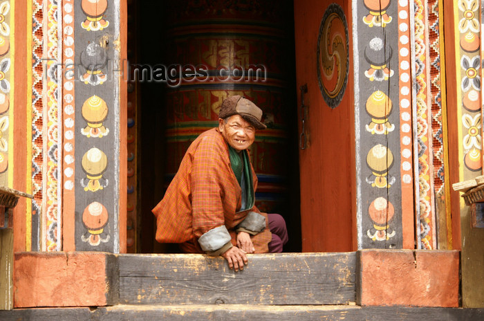 bhutan356: Bhutan - ld smiling man, in the Ugyen Chholing palace - photo by A.Ferrari - (c) Travel-Images.com - Stock Photography agency - Image Bank