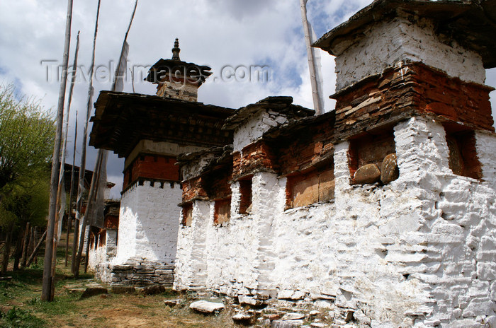 bhutan359: Bhutan - Mani wall and chortens, near the Ugyen Chholing palace - photo by A.Ferrari - (c) Travel-Images.com - Stock Photography agency - Image Bank