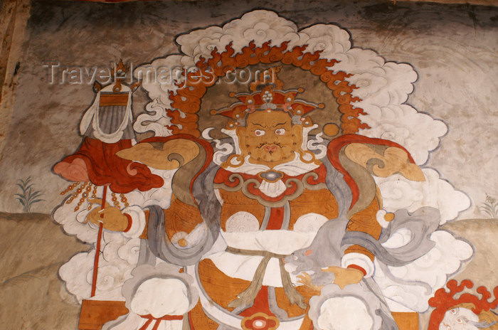 bhutan369: Bhutan - Shingkhar - Old painting of Namthose - photo by A.Ferrari - (c) Travel-Images.com - Stock Photography agency - Image Bank
