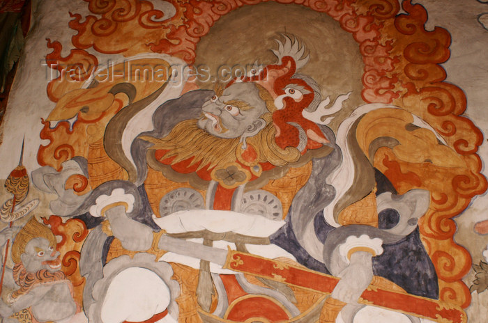 bhutan370: Bhutan - Shingkhar - Old painting of Phagchepo - photo by A.Ferrari - (c) Travel-Images.com - Stock Photography agency - Image Bank