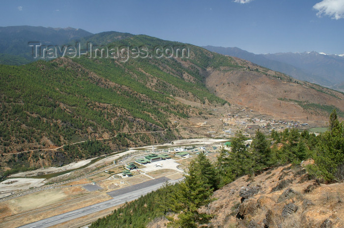 bhutan38: Bhutan - Paro: PBH - Paro airport and its (short) runway, seen from a nearby hill - the only airport in Bhutan - photo by A.Ferrari - (c) Travel-Images.com - Stock Photography agency - Image Bank
