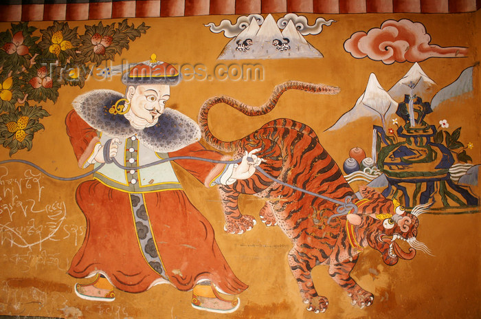 bhutan381: Bhutan - tiger painting - Ugyen Chholing palace - photo by A.Ferrari - (c) Travel-Images.com - Stock Photography agency - Image Bank