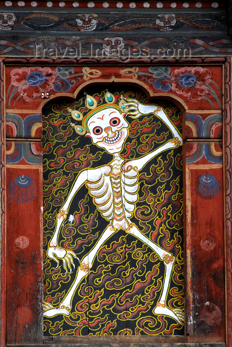 bhutan418: Bhutan, Thimphu, Detail Trashi Chhoe Dzong - dancing skeleton - photo by J.Pemberton - (c) Travel-Images.com - Stock Photography agency - Image Bank