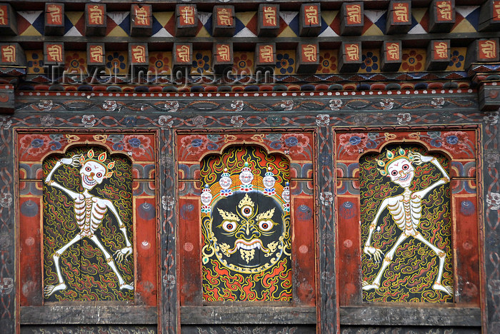 bhutan424: Bhutan, Thimphu, Detail Trashi Chhoe Dzong - demon and skeletons - photo by J.Pemberton - (c) Travel-Images.com - Stock Photography agency - Image Bank