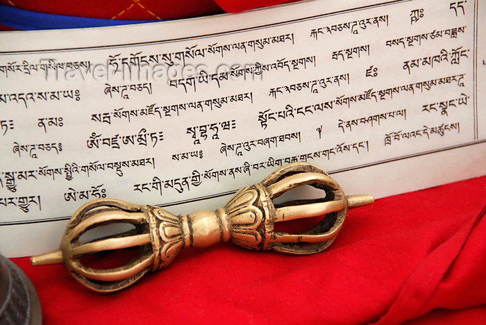 bhutan426: Bhutan, Thimphu,  Dorje and prayer book - Sanskrit - photo by J.Pemberton - (c) Travel-Images.com - Stock Photography agency - Image Bank