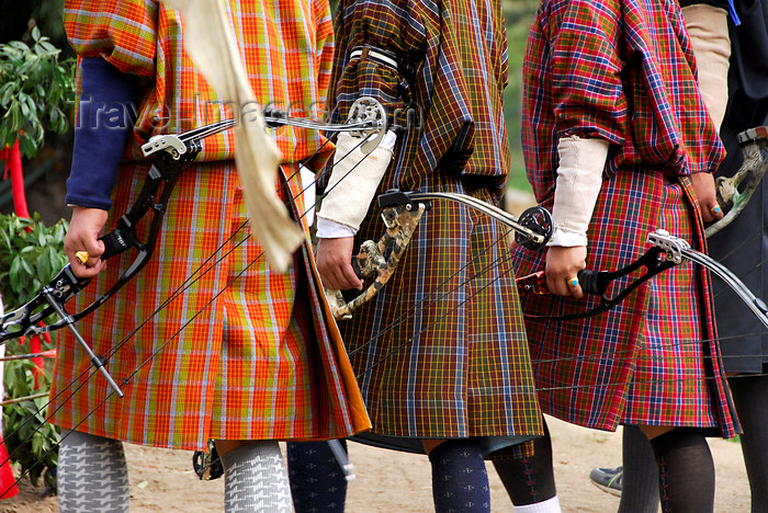bhutan427: Bhutan, Thimphu, Traditionally dressed archers with modern bows - photo by J.Pemberton - (c) Travel-Images.com - Stock Photography agency - Image Bank