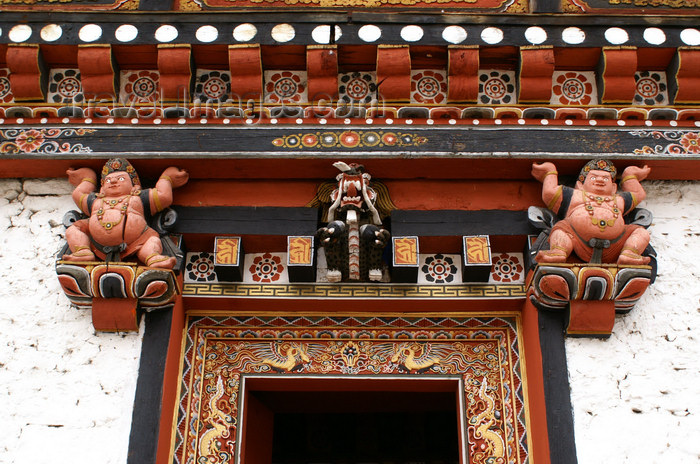 bhutan60: Bhutan - Thimphu - inside Trashi Chhoe Dzong - beautiful wood carvings - sumo wrestlers  - photo by A.Ferrari - (c) Travel-Images.com - Stock Photography agency - Image Bank