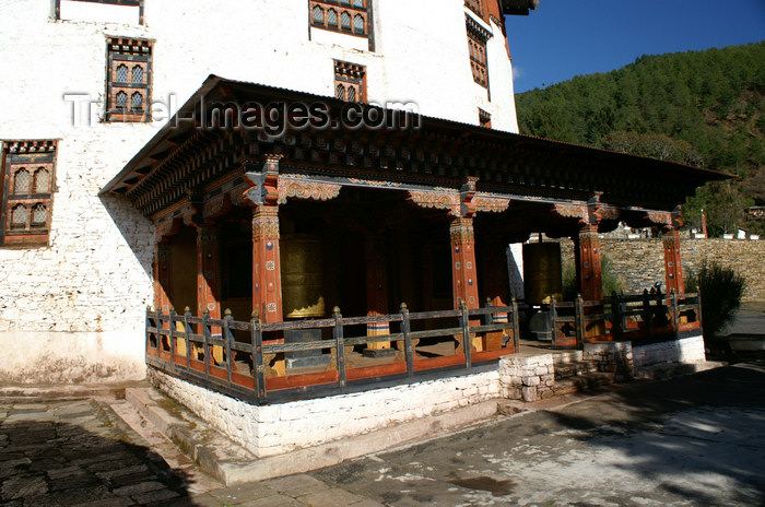 bhutan64: Bhutan - Paro: large prayer wheels, outside Bhutan's national museum - photo by A.Ferrari - (c) Travel-Images.com - Stock Photography agency - Image Bank