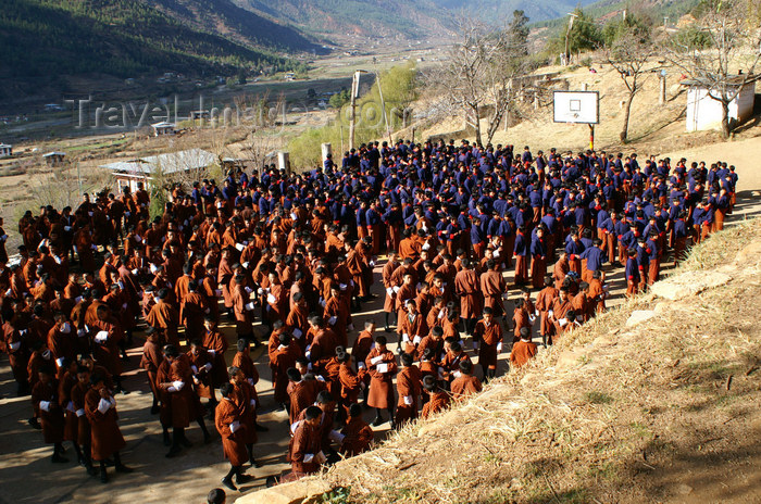 bhutan66: Bhutan - Paro: school - boys wear a gho and girls wear a kira - photo by A.Ferrari - (c) Travel-Images.com - Stock Photography agency - Image Bank