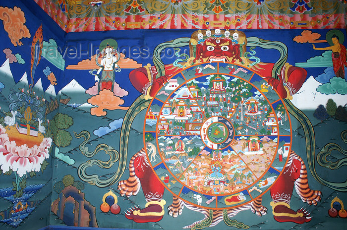 bhutan76: Bhutan - Paro: wall painting, Bhavacakra or Wheel of Becoming - mandala - inside the Paro Dzong - photo by A.Ferrari - (c) Travel-Images.com - Stock Photography agency - Image Bank